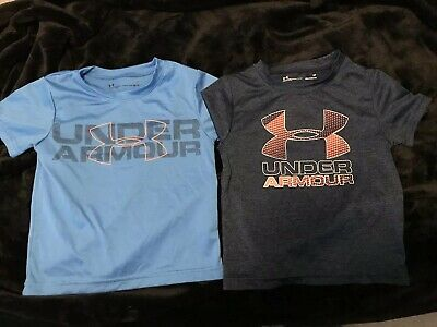 Under Armour Heatgear Boys Gray & Blue Sz 2T T-shirts Lot of 2 EUC