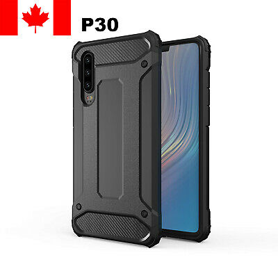 Huawei P30 Case - Rugged Hybrid ShockProof Back Cover Black Case Canada