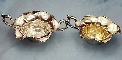 Vintage Sterling Silver Sugar and Creamer w/ Beaded Design on Edge #6901