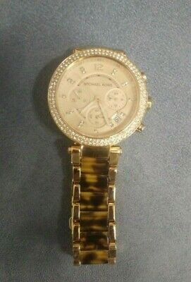 Michael Kors Parker Rose Gold Tortoise Chrono Womens Glitz Watch MK5538