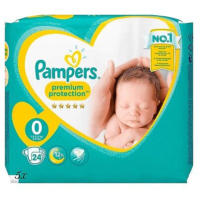 5x24 Windeln=120 Pampers Premium Protection New Baby Micro Gr. 0 Newborn bis 3kg
