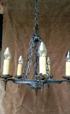 ** Virden Arts And Crafts Tudor Spanish Gothic Antique Chandelier Rewired 1930'S