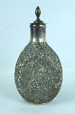 Antique Chinese Sterling Silver Overlay Pinched Bottle Decanter