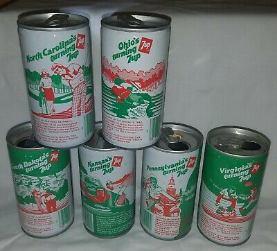 """Lot of 6 - 1970's """"Turning 7up"""" States Straight Steel Cans"""