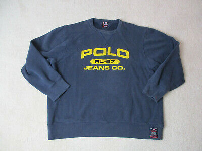 VINTAGE Ralph Lauren Polo Jeans Sweater Adult Extra Large Blue Yellow Spell Out