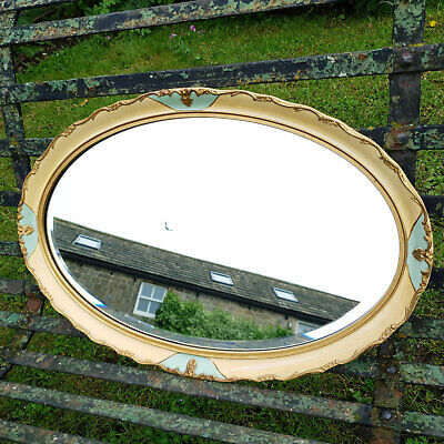 Louis XIV Style Cream Painted & Parcel Gilt Oval Wall Mirror - Early C20th