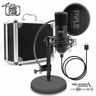 Pyle PDMIKT100 USB Microphone Podcast Recording Kit, Cardioid Condenser Mic
