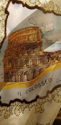 """Silky Scarf gold Made In Italy 37"""" Square Great Condition landmarks of Rome"""
