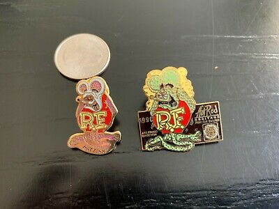 Vintage Pair Of Roth Rat Fink pins * 1990 Heritage Art Show plus one more