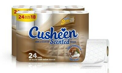 96 Cusheen 3Ply Quilted Soft Toilet Rolls - Shea Butter Scented - Crazy Price