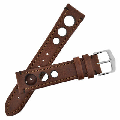 New 18mm Hirsch Brown Textured Leather Watch Strap 05102010-2-18