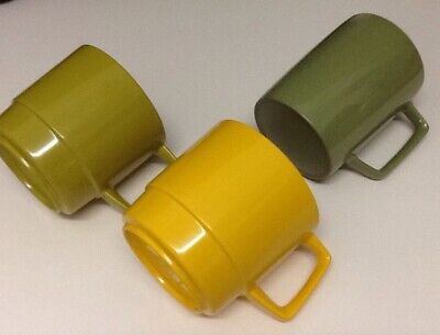 Melamine Cups X 3 Green And Yellow Vintage 1970s Plastic ware