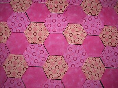 Fabric Hexagons X 100 Tacked To Paper Template Epp Pink  Patchwork  Aug