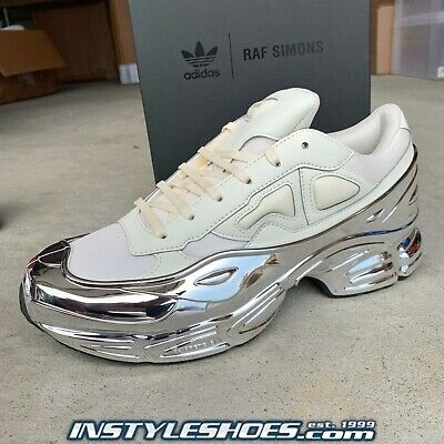 new style 35ccc 8bd48 ADIDAS BY RAF Simons Ozweego Sz 9.5 Mirrored Cream White Silver EE7945