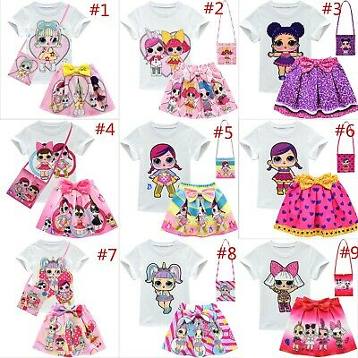 Cute Girls Lol Surprise Doll Tshirts&Pleated Skirt &Bag Outfits Summer Costume