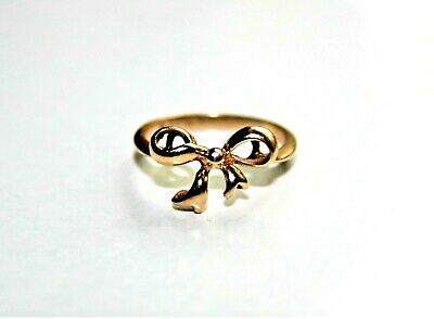 Vintage Signed Solid 14K Yellow Gold Bow Ring Size 4.75, 1.75g