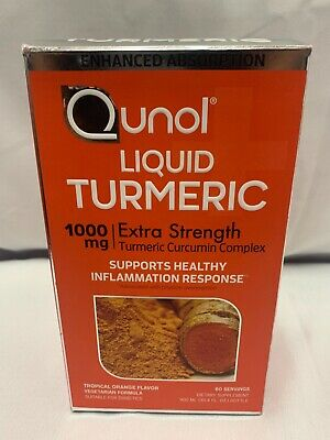 Qunol Liquid Turmeric 1000mg Extra Strength Tropical Orange Flavor 60 Servings
