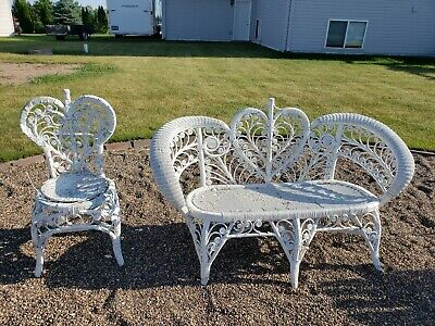 Rare Antique Wicker Heart Back Occasional Accent Chairs Patio Seat and love seat