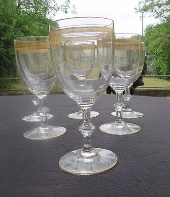 6 Verres Water Crystal of Saint Louis Service Talma Decor Gold Type Thistle