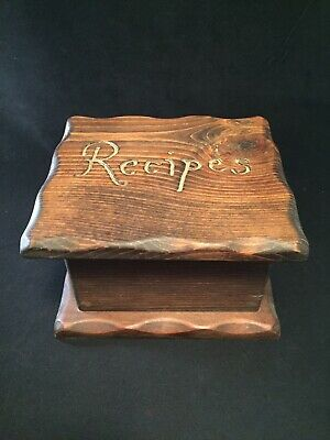 Vintage Wooden Handcrafted Recipe Box by Old Economy Products Woolworth Cards