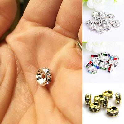 100pcs Crystal Rhinestone Rondelle Spacer Beads Round 8mm*2mm