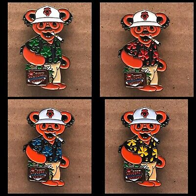 Grateful Dead Bear Hunter S. Thompson Lapel Pin 4 Pack.  Steal Your Face.