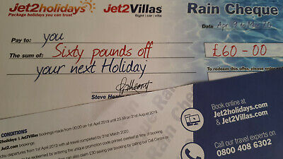 Jet2Holidays £60 Rain Cheque voucher Code  - Expiry March 2020-Book By 31/8/19