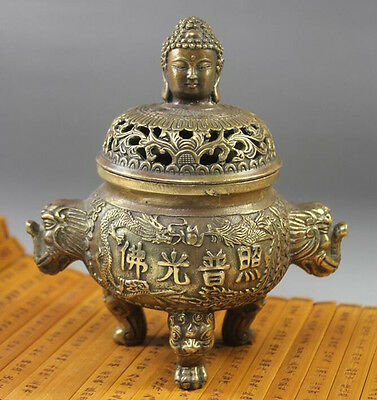 Old  Chinese Folk Collection Bronze Copper Buddha Dragon Incense Burner Censer