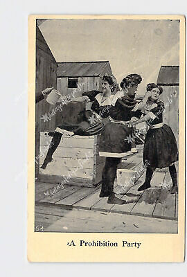 Ppc Postcard Prohibition Party Girls Drinking Pinching Cheeks