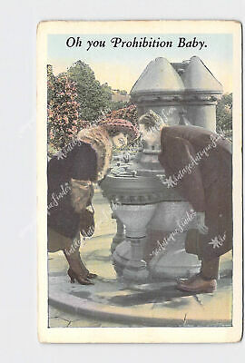 Ppc Postcard Oh You Prohibition Baby Guy And Girl Lean Over Fountain Hand-Colore