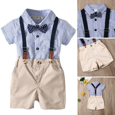 Cute Baby Boy Gentleman Formal Suit Blue Stripes Shirt Tops+Pants Shorts Outfits