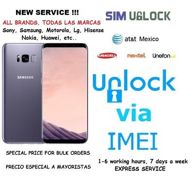 At&t Mexico, Iusacell, Nextel, Unefon- All Brands (No Iphone)(NCK CODE)(EXPRESS)
