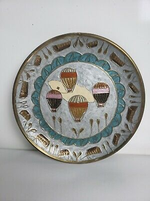 "Brass Collectors Plate With HOT AIR BALLOONS Enameled Inlay 7 3/4"" India  b13"