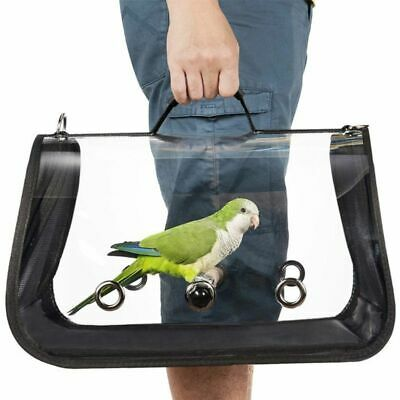 Clear Cover Parrot Bird Carrier Backpack Perch Stand Green /&Keychain