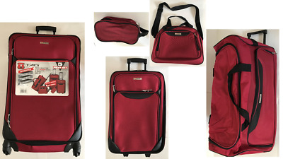 * NEW * Tag Springfield III 5 Piece Red Lightweight Spinner Luggage Set
