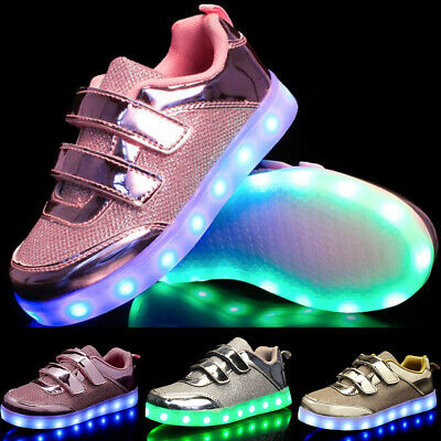 Kids Boys Girls Light Up Shoes LED Flashing Trainers Casual Sneakers Size Gift