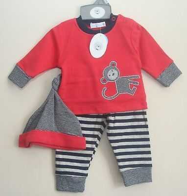 Baby Boy's 3 piece Top, Trousers & Hat Set/Outfit, 100% Cotton - NWT 3-12 Months