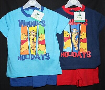 Baby Boy's Disney WINNIE THE POOH T-Shirt & Shorts Set NWT 2 Colours 6-24 Months