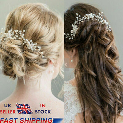 Wedding Bridal Pearl Flower Crystal Hair Pins Bridesmaid Clips Side Comb UK 2019