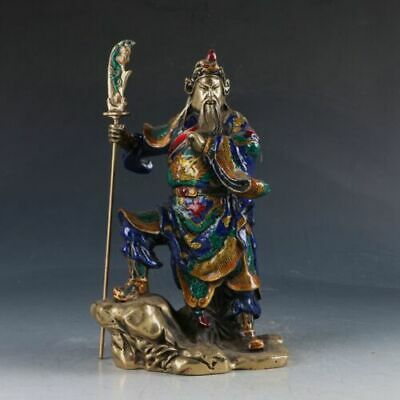Chinese Cloisonne Brass Handwork Carved Guangong God of wealth Statue