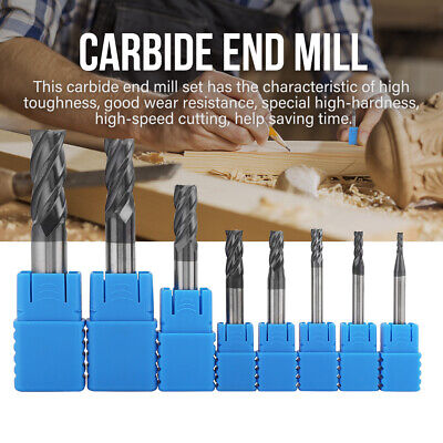 8Pcs 4 Flutes Carbide End Mill Set Tungsten Steel Milling Cutter Tool CNC 2-12mm