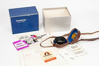Voigtlander Vitomatic II box, instructions and paper lens hood 310/32 and filter
