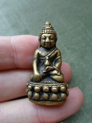 Old Thai  Kring Throned  Buddha  Amulet Charm  Temple Plug To Under Base