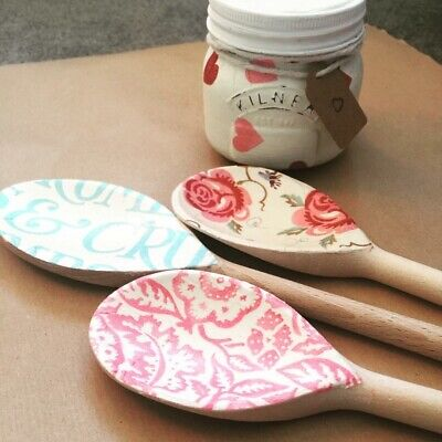 Emma Bridgewater Themed Set Of 3 Utensils - Rose & Bee, Wallpaper , Blue Toast