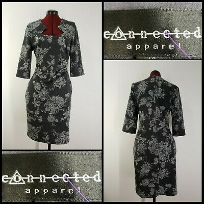 Connected Apparel Woman Floral Barbie Neck Dress Size 10 Gray