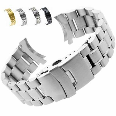 Curved Stainless Steel Metal Solid Watch Band Strap Clasp Replacement 18-24mm