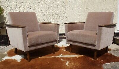 Pair Vintage Mid Century German Lounge Arm Chairs For Re-Covering Jun19-4