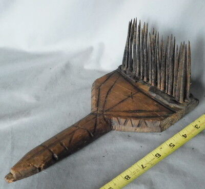 Antique Folk art hetchell hatchell flax rake comb 18th c carved decorated beech