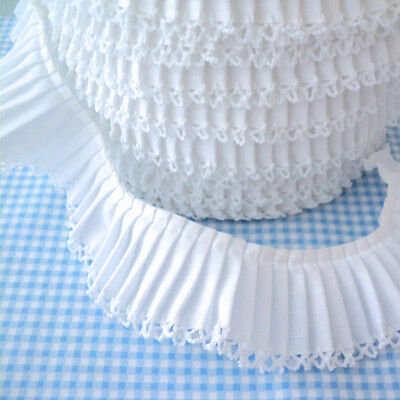 Pleated Trim Picot Edging - White - Cotton Fabric