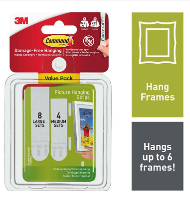Command Medium and Large Picture Hanging Strips Value Pack 4 medium, 8 large